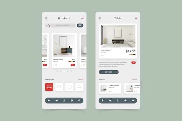 Paquete de plantillas de la aplicación de compra de muebles