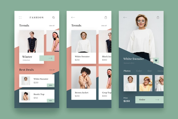 Paquete de plantillas de aplicaciones de compras de moda