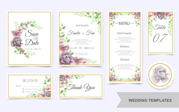 Paquete de plantillas de boda con hermosas flores de color púrpura