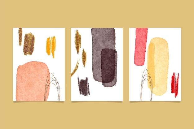 Paquete de plantillas de cubiertas de formas abstractas de acuarela