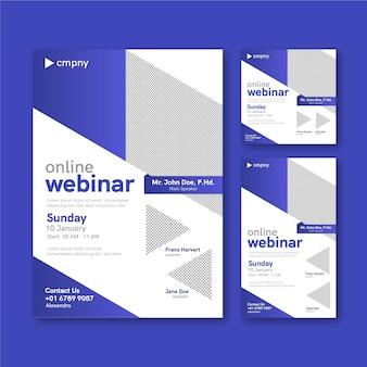 Paquete de plantillas de folletos de seminarios web con formas abstractas