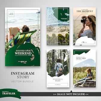 Paquete de plantillas de historias de instagram para viajeros en color verde.