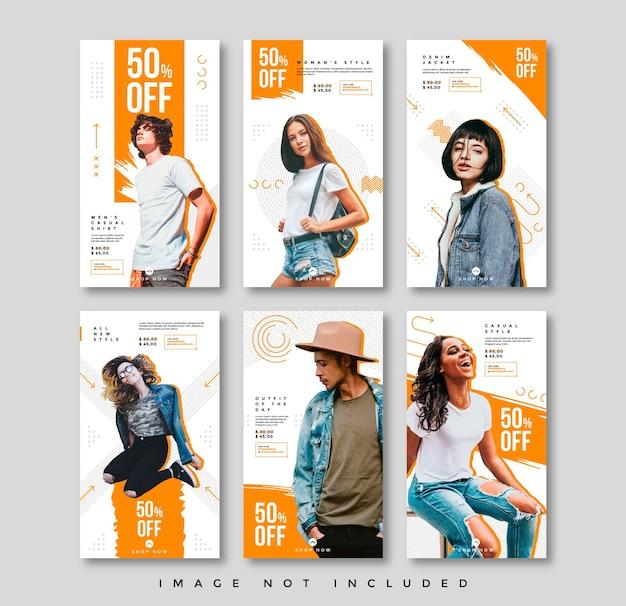 Paquete de plantillas de historias de redes sociales de moda minimalista plana