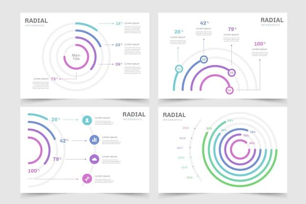 Paquete de plantillas de infografía radial
