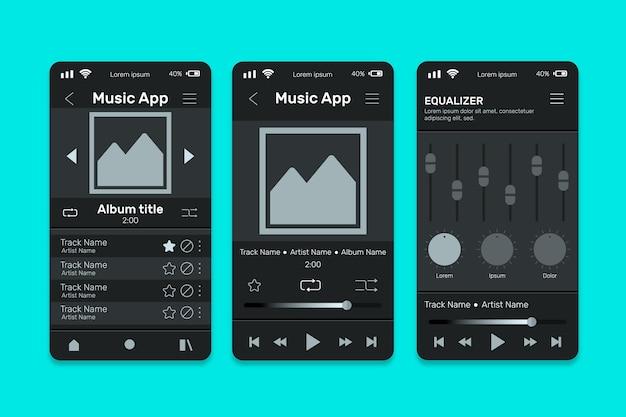 Paquete de plantillas de interfaz de la aplicación del reproductor de música