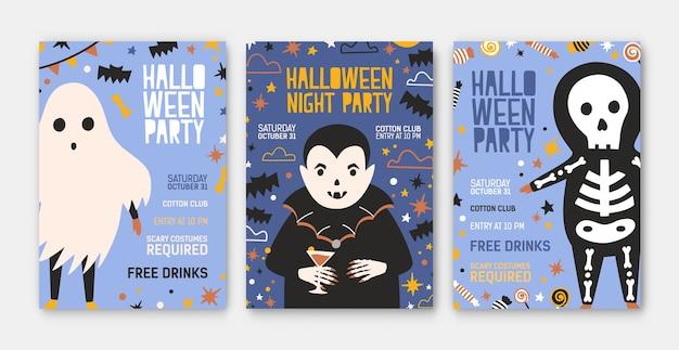 Paquete de plantillas de invitaciones, folletos o carteles para fiestas de halloween con vampiro lindo