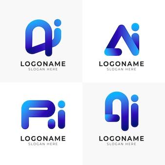 Paquete de plantillas de logotipo ai degradado de diseño plano
