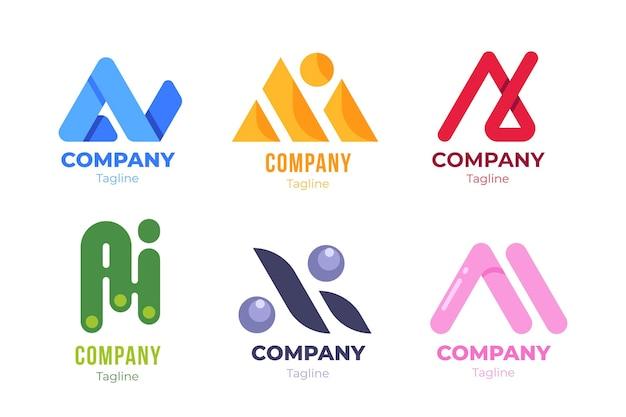 Paquete de plantillas de logotipo de ai de diseño plano