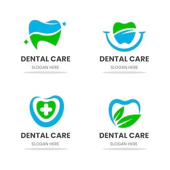 Paquete de plantillas de logotipo dental plano