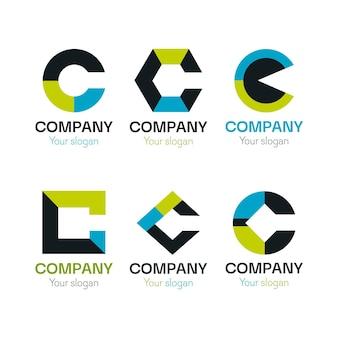 Paquete de plantillas de logotipo de diseño plano c