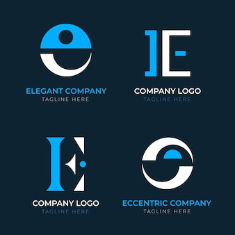 Paquete de plantillas de logotipo de diseño plano e