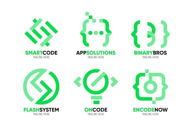 Paquete de plantillas de logotipo de empresa de programación de diseño plano