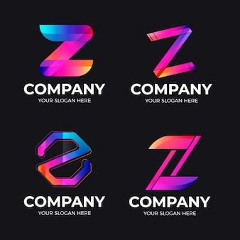 Paquete de plantillas de logotipo de letra z degradado