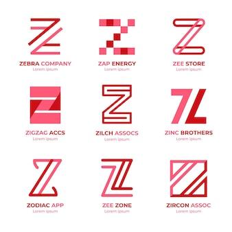 Paquete de plantillas de logotipo de letra z de diseño plano