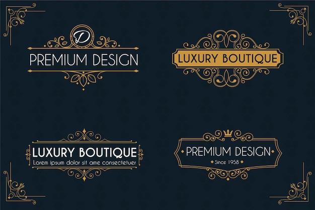 Paquete de plantillas de logotipo retro de lujo