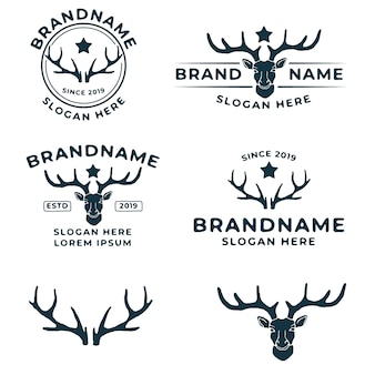 Paquete de plantillas de logotipo vintage de ciervos