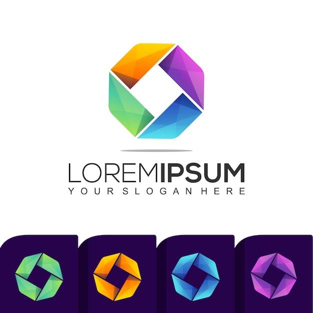 Paquete de plantillas de logotipos coloridos cuadrados modernos