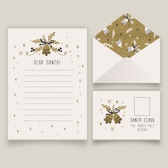 Paquete de plantillas de papelería navideña dibujadas a mano