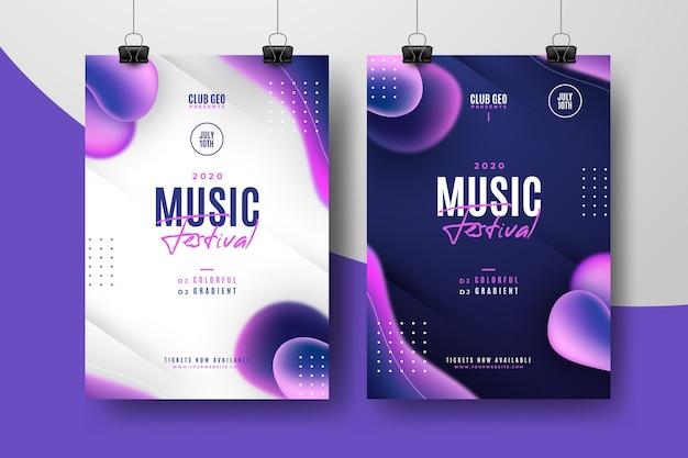 Paquete de plantillas de póster de festival de música abstracta