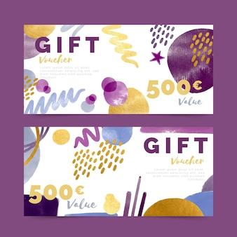 Paquete de plantillas de vales de regalo de acuarela