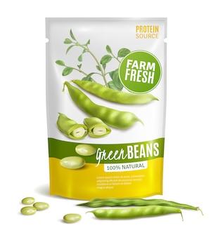 Paquete de plástico de frijoles verdes naturales preservados fuente de proteína valiosa comida sana de cerca ilustración de vector de imagen realista