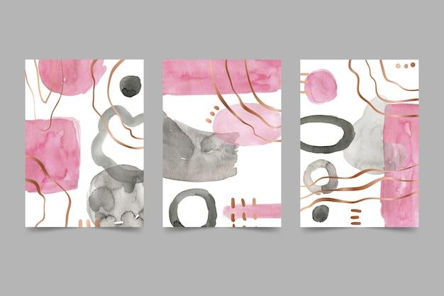 Paquete de portadas de arte abstracto acuarela pintada a mano