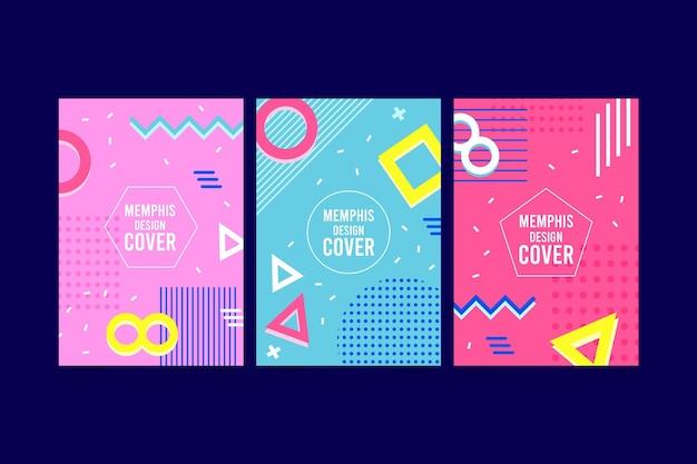Paquete de portadas de colores de memphis