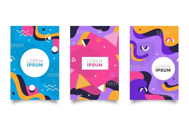 Paquete de portadas de diseño colorido de memphis