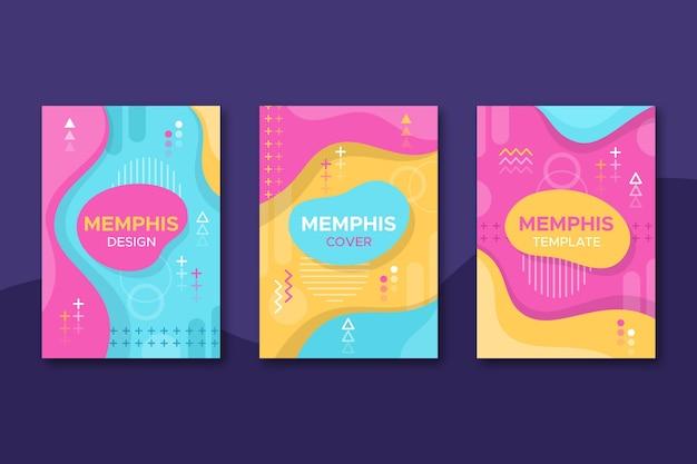 Paquete de portadas de diseño de formas geométricas de memphis