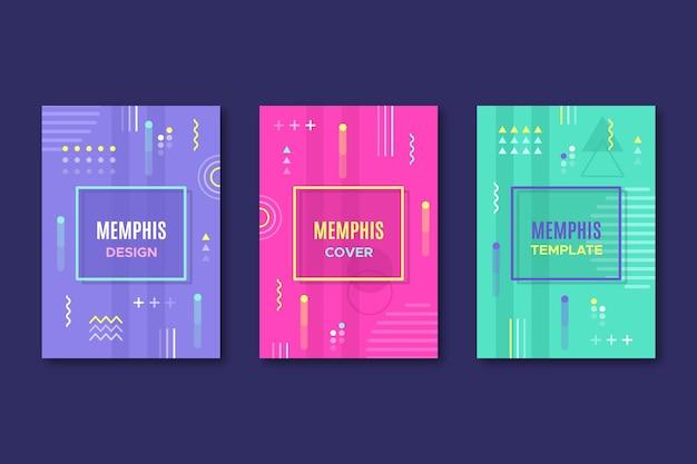 Paquete de portadas de diseño geométrico de memphis