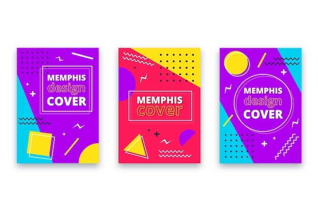 Paquete de portadas de diseño de memphis
