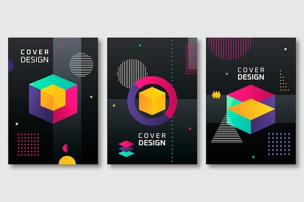 Paquete de portadas de formas abstractas con degradado