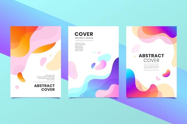 Paquete de portadas de formas abstractas degradado
