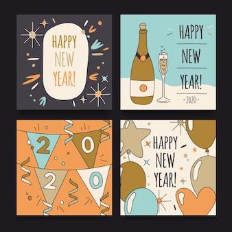 Paquete de post de instagram de fiesta de año nuevo 2020