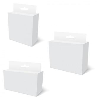 Paquete de producto blanco caja con ranura para colgar