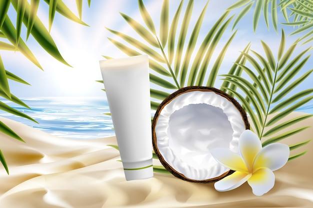 Paquete de productos cosméticos de coco