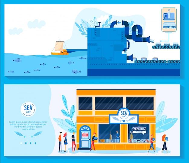 Paquete de productos de lata de alimentos para el conjunto de ilustración de vector de tienda de comestibles.