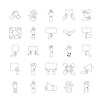 Paquete de protesta de veinticinco manos establecer iconos