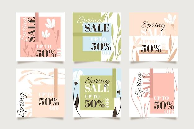 Paquete de publicación de instagram de rebajas de primavera
