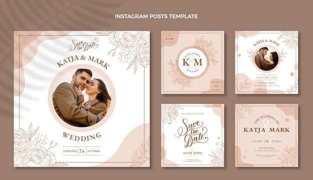 Paquete de publicaciones de ig de boda dibujadas a mano