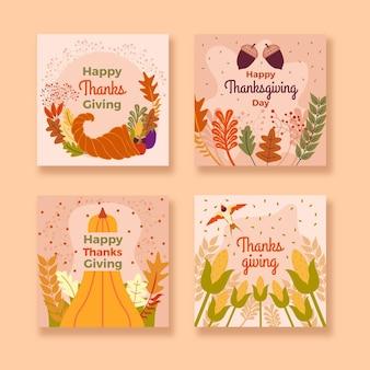 Paquete de publicaciones de instagram de acción de gracias