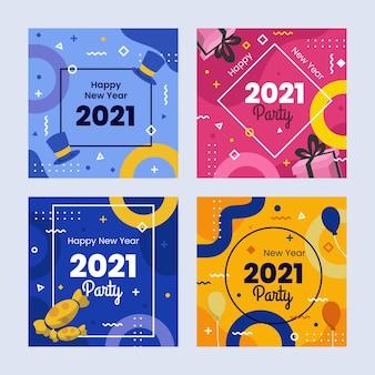 Paquete de publicaciones de instagram año nuevo 2021