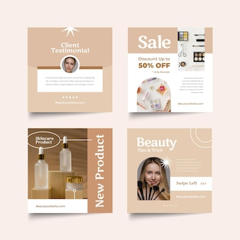 Paquete de publicaciones de instagram de belleza de diseño plano