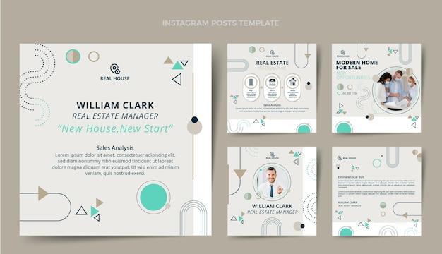 Paquete de publicaciones de instagram de bienes raíces de diseño plano