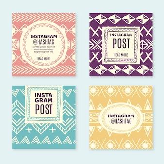 Paquete de publicaciones de instagram boho dibujadas a mano