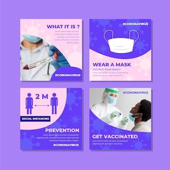 Paquete de publicaciones de instagram de coronavirus plano orgánico