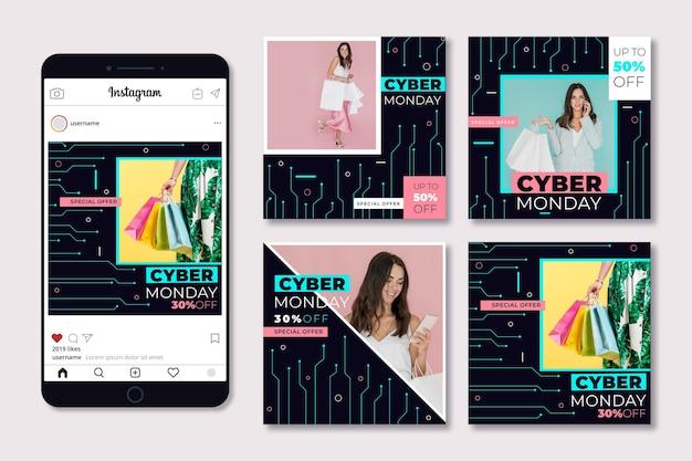 Paquete de publicaciones de instagram de cyber monday