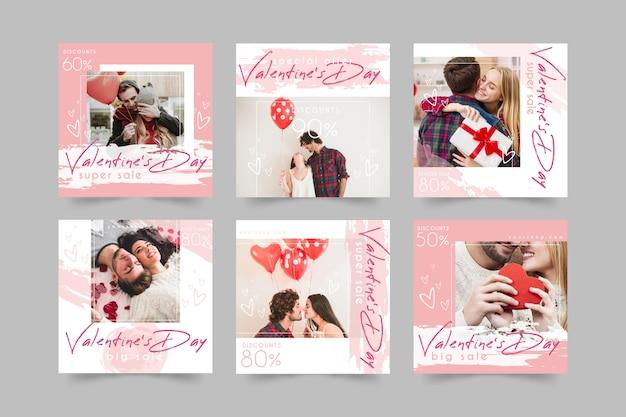 Paquete de publicaciones de instagram del día de san valentín