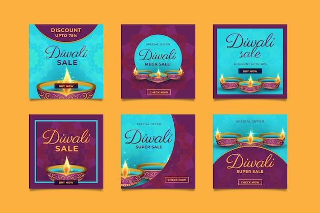 Paquete de publicaciones de instagram del evento de venta de diwali