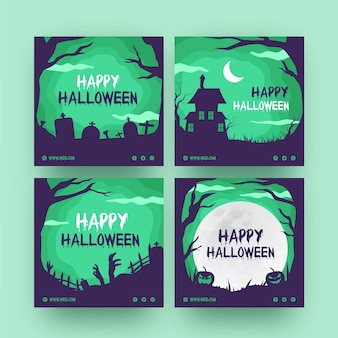 Paquete de publicaciones de instagram de halloween